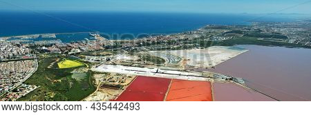 Panoramic Image Drone Point Of View Torrevieja Coastline, Mediterranean Sea And Las Salinas Scenery