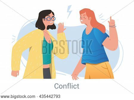 Conflict Between Opponents Concept. Young Women Argue, Point At Each Other And Get Angry. Offended C