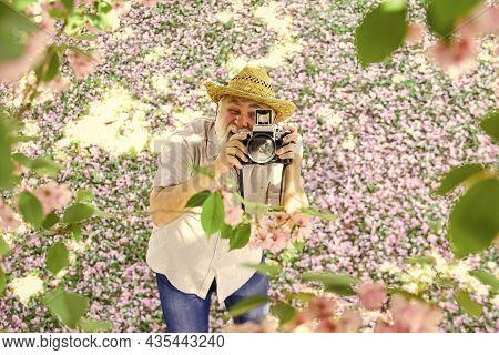 Grandfather Photographer. Senior Man Holding Professional Camera. Vintage Camera. Retro Camera. Old