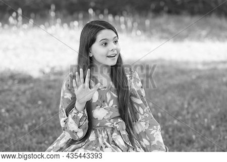 Little Girl Long Hair Fashionable Dress Relaxing In Park Sunny Day Nature Background, Say Hello Conc