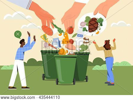 Food Waste. Big Hands Throw Leftovers Of Dishes Into Trash. Get Rid Of Expired Products. Excessive C