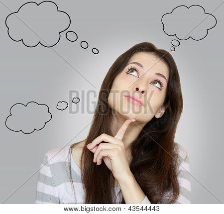 Thinking Woman With Many Ideas In Empty Bubble On Grey Background