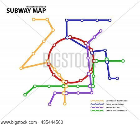 Subway Map. Template Of Fictional Town Public Transport Scheme For Underground Transition Road. Metr
