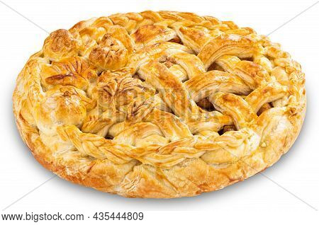 Apple Pie Isolated On White Background. Clipping Path
