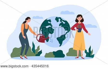 Ecological Agriculture Concept. Woman Waters Planet And Collects Natural Harvest. Environment, Garde