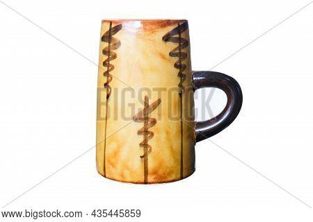 A Big Yellow Old Fashioned Ceramic Beer Mug Isolated On White, Glazed Clay Dishware