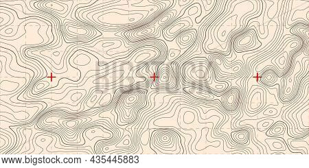 Vintage Topographic Line Map Pattern. Contour And Textured Background Of Geographic Cartography Terr