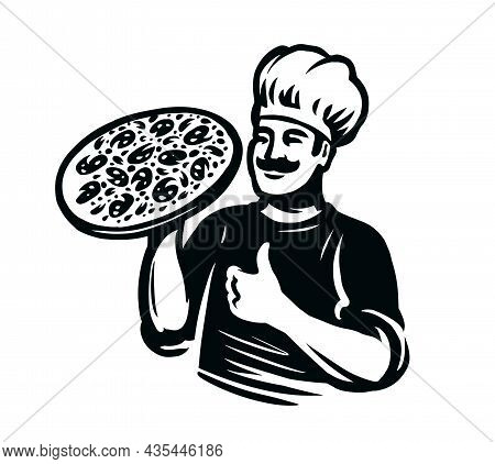 Pizza Chef Logo. Fast Food Delivery Logotype Template. Pizzeria Vector Emblem
