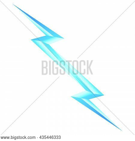 Blue Lightning Symbol On White Backdrop. Power Energy Sign. Electricity Themed Illustration For Icon