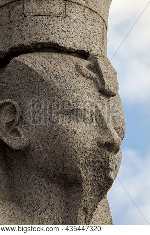 Portrait Of An Ancient Egyptian Statue Of A Sphinx On The Embankment Neva River, St. Petersburg, Rus