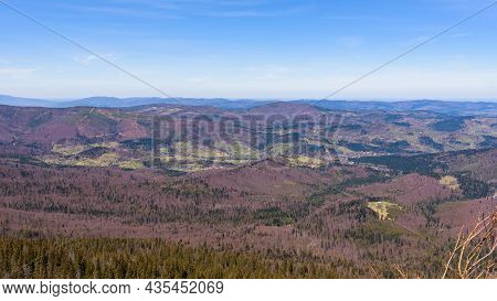 Spring Landscape Of Western Beskid Mountains In Southern Poland