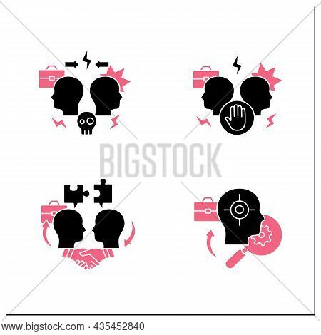 Conflict Management Glyph Icons Set. Dispute Resolution.compromising, Identifying Triggers, Stress M