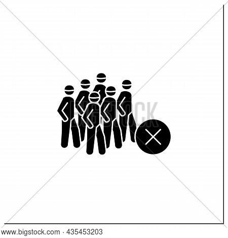 Avoid Crowds Glyph Icon. People Gathering With Negative. Concept Of Covid Regulations And Disease Pr