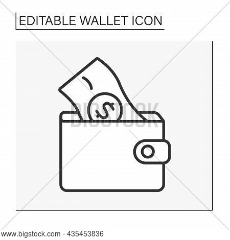 Cash Line Icon. Money Inside Wallet. Wealth. Budget Plan. Wealth. Wallet Concept. Isolated Vector Il