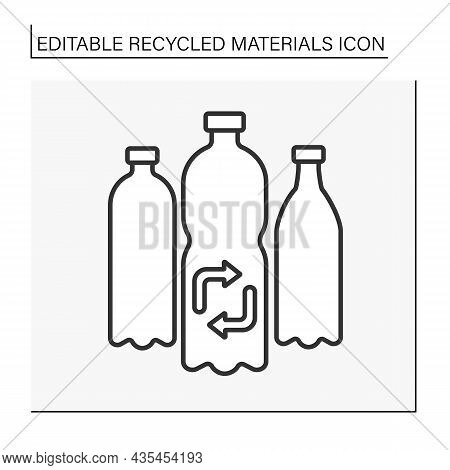 Plastic Recycling Line Icon. Recycling Plastic Waste. Nature Protection. Recycled Materials Concept.