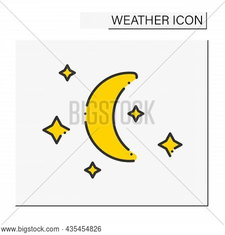 Night Color Icon. Starry Night With Moon Without Clouds.meteorology Clear Sky. Moonlight. Cloudless