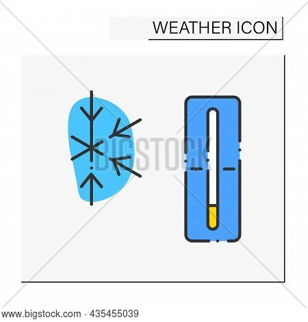 Thermometer Color Icon. Frozen Weather Outside. Nice Winter Day. Frigid Temperature. Cold And Frosty