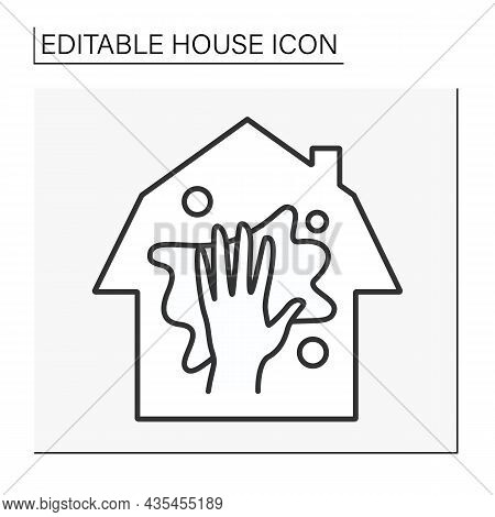 Household Line Icon. Cleaning Service. Chores.house Concept. Isolated Vector Illustration. Editable