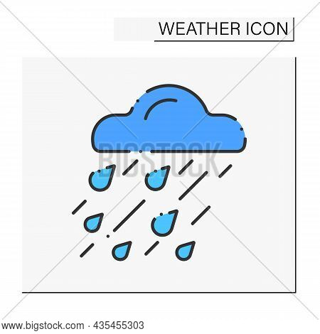 Heavy Rain Color Icon. Raindrops. Heavy Storm. Cloud With Drops. Bad Weather Forecast. Weather Conce