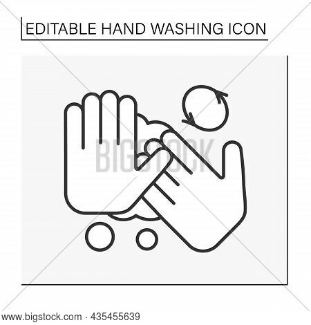 Regulations Line Icon. Rules Of Correct Hand Washing. Circular Motion For Fingers Washing. Hygiena C