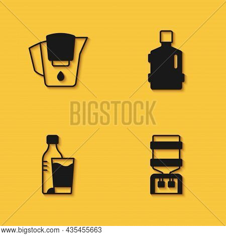 Set Water Jug With Filter, Cooler, Bottle Of Water Glass And Big Bottle Clean Icon With Long Shadow.