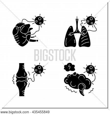Corona Virus Effects Glyph Icon Set. Covid Long Term System Health Damage. Heart, Lung, Brain Damage