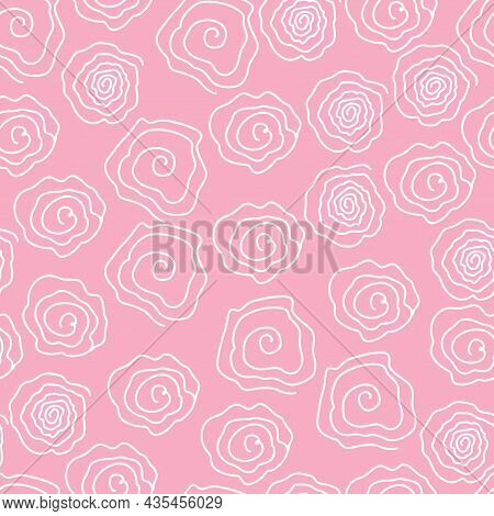 A Set Of Pink Flowers, Buds. The Vector Pattern Is Seamless With Roses In A Linear Style With Abstra