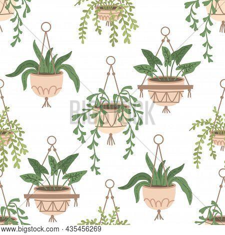 Scandinavian Macrame Plant Seamless Pattern. Boho Home Interior Decor. Isolated On White Background.