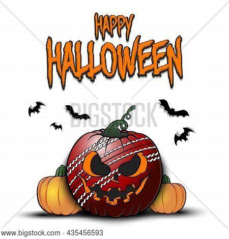 Happy Halloween. Cricket Ball As Pumpkin