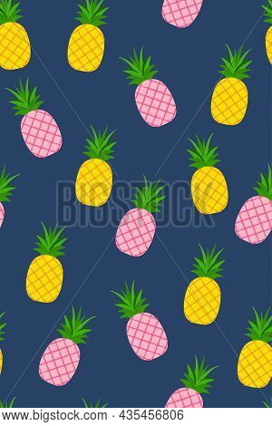Seamless Pattern With Tropical Fruit. Pineapples On The Blue Background. Vector Illustration