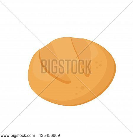 Bread Icon. Round Wheat Bread On White Background. Baking Healthy Food. Vector Illustration
