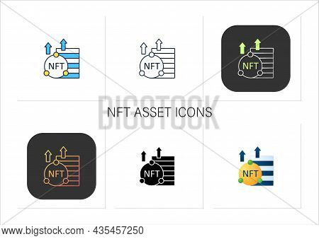 Nft Asset Icons Set. Unique Digital Assets. Growth. Cryptocurrency Concept. Collection Of Icons In L