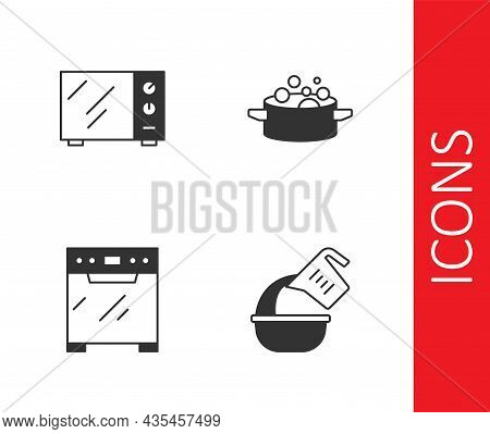 Set Measuring Cup And Bowl, Microwave Oven, Oven And Cooking Pot Icon. Vector