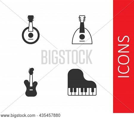 Set Grand Piano, Banjo, Electric Bass Guitar And Balalaika Icon. Vector
