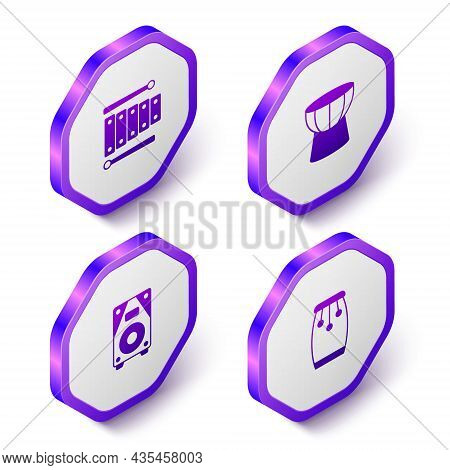 Set Isometric Xylophone, African Darbuka Drum, Stereo Speaker And Conga Drums Icon. Purple Hexagon B