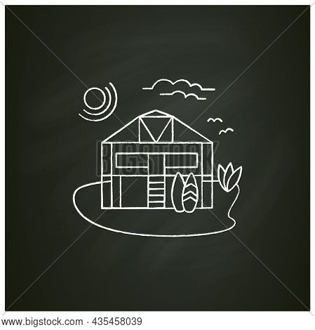 Beach Hut Chalk Icon. Wooden Comfortable House On Beach. Surfboards. Relaxing Place. Rest Concept. I