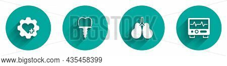 Set Heart With Cross, Dental Implant, Lungs And Monitor Cardiogram Icon With Long Shadow. Vector