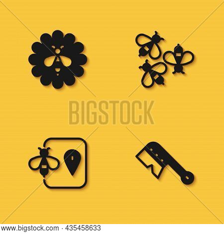 Set Bee On Flower, Beekeeping Brush, Location And Bees Icon With Long Shadow. Vector