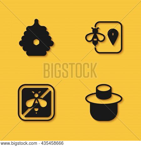 Set Hive For Bees, Beekeeper With Protect Hat, Stop And Location Icon With Long Shadow. Vector