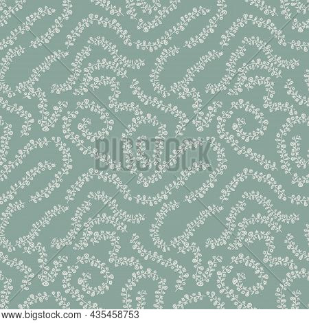 Muted Green Branches Seamless Vector Farmhouse Pattern