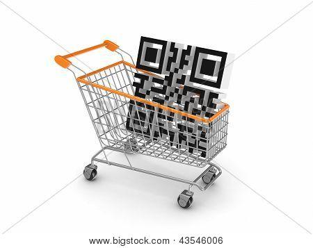 Symbol of QR code in a shopping trolley.
