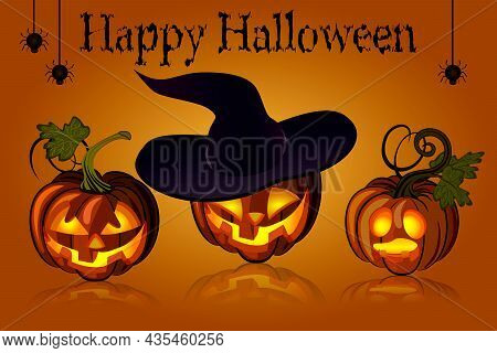 Illustration With Pumpkins For All Saints Day.vector Illustration With Pumpkins, Their Reflection, H