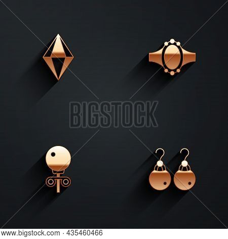 Set Gem Stone, Diamond Engagement Ring, Stud Earrings And Earrings Icon With Long Shadow. Vector