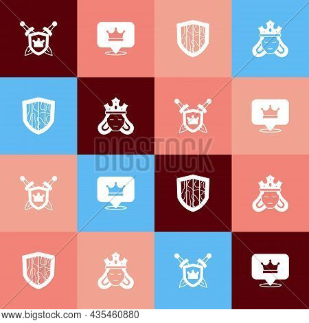 Set Pop Art Shield With Swords, King Crown, And Princess Queen Icon. Vector