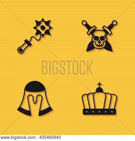 Set Mace With Spikes, King Crown, Medieval Helmet And Skull Sword Icon With Long Shadow. Vector
