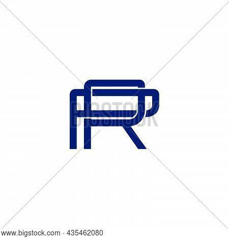Letter Pr Simple Geometric Linked Line 3d Flat Logo Vector