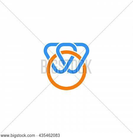 Letter Wo Colorful Curve Lines Art Simple Logo Vector