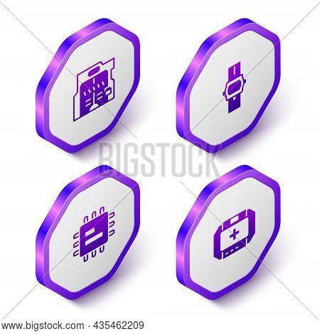 Set Isometric Futuristic Sliding Doors, Wrist Watch, Processor Cpu And First Aid Kit Icon. Purple He