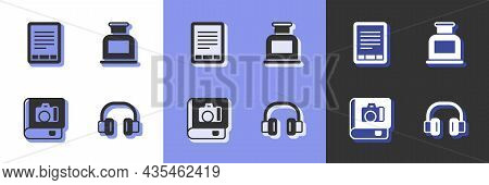 Set Headphones, E-book Reader, Photo Album Gallery And Inkwell Icon. Vector