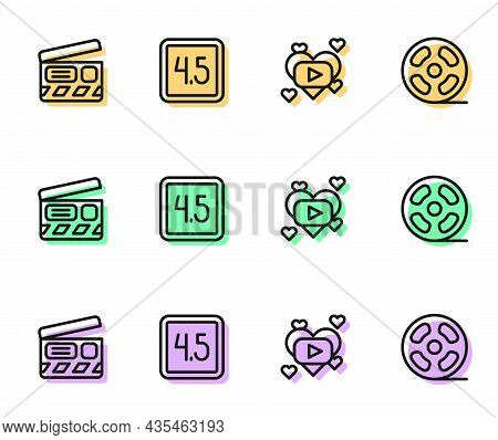 Set Line Romantic Movie, Movie Clapper, Rating And Film Reel Icon. Vector